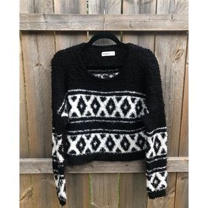 Fluffy Aztec Cropped Sweater